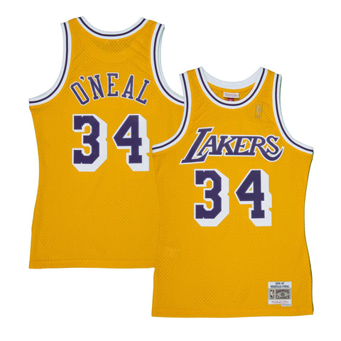 Adult Los Angeles Shaquille O'Neal Mitchell and Ness Gold Hardwood Classics Jersey