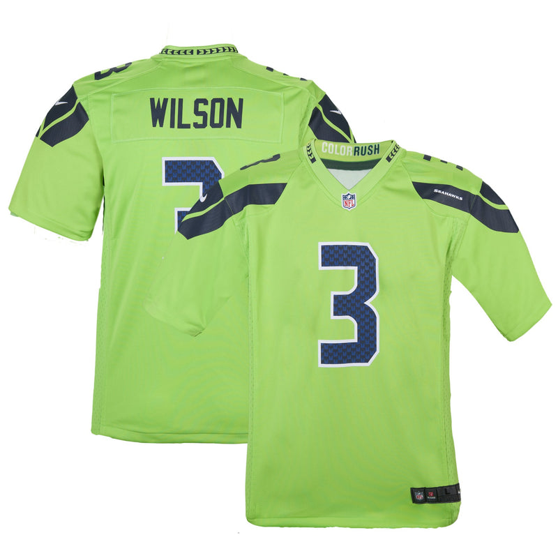 Youth Seattle Russell Wilson Nike Action Green Color Rush Game Jersey