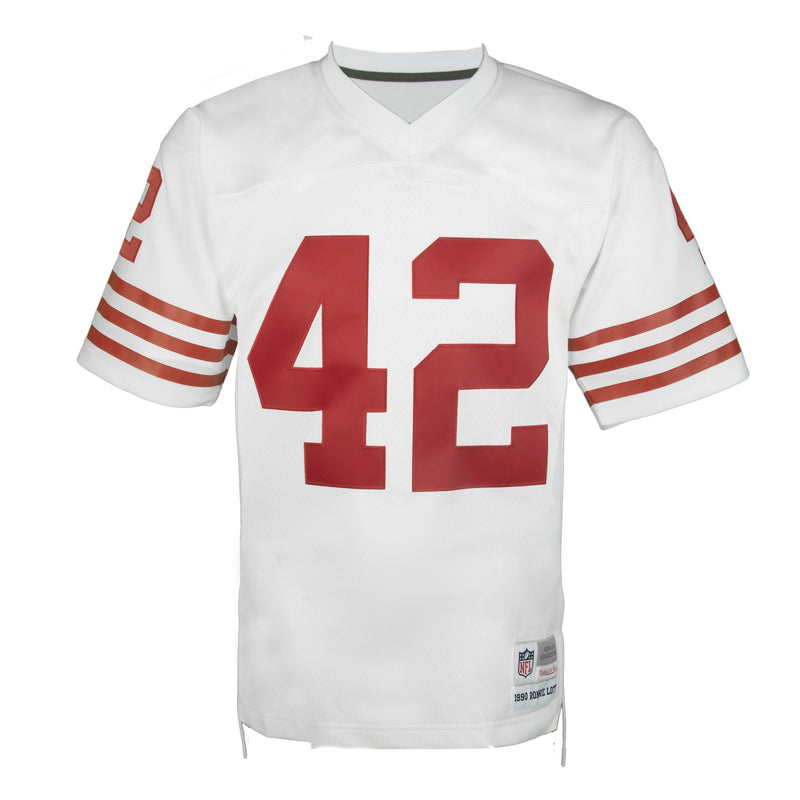 Adult San Francisco Ronnie Lott Mitchell and Ness White Retired Player Vintage Jersey