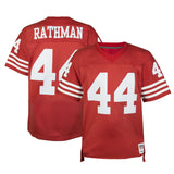 Adult San Francisco Tom Rathman Mitchell and Ness Scarlet Red Retired Player Vintage Jersey