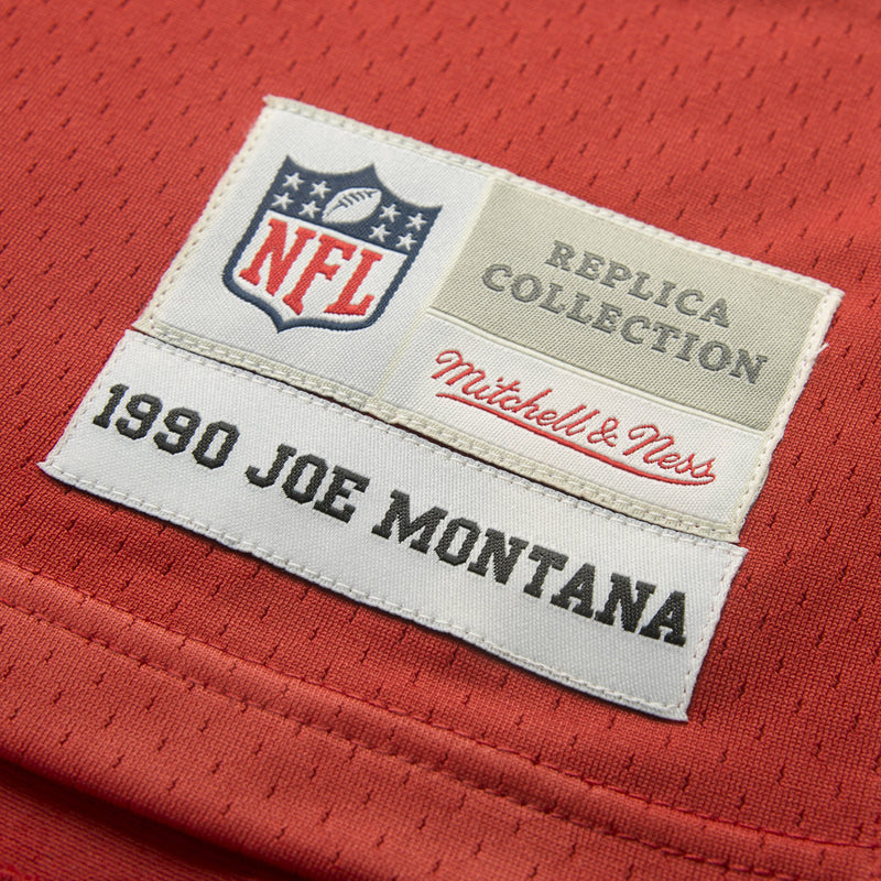 Adult San Francisco Joe Montana Mitchell and Ness Scarlet Red Retired Player Vintage Jersey