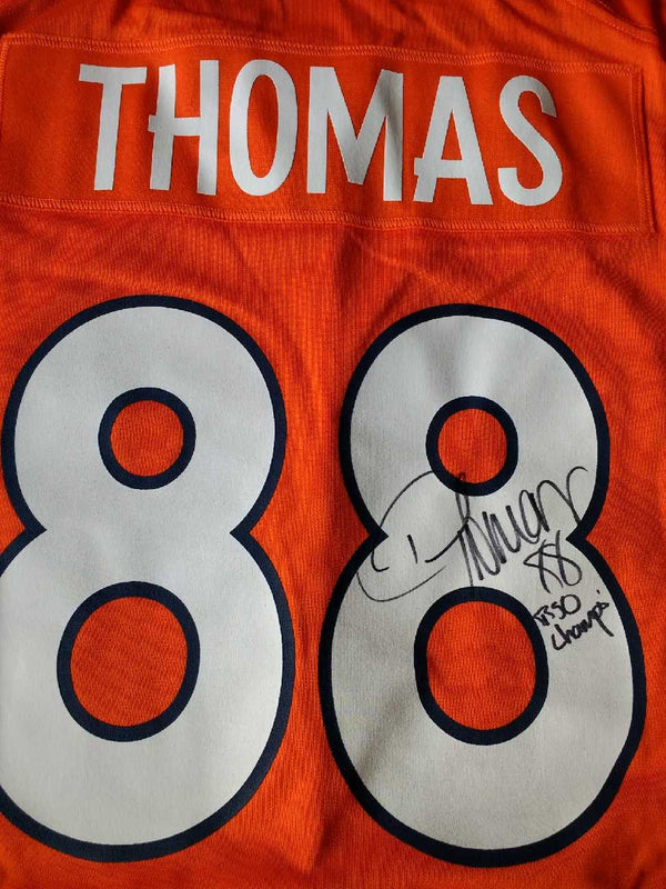 Authentic Autographed Adult Denver Demaryius Thomas Nike Orange Game Jersey