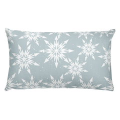 Reverse side of pillow - Snowflake design, light green color