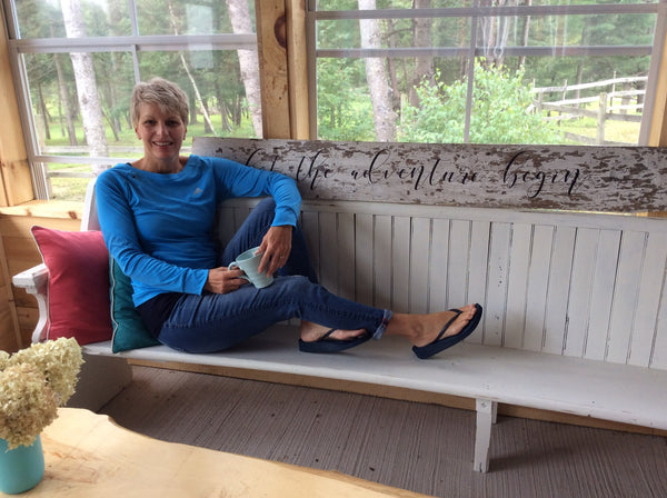 Bev Evans The Creative Pioneer relaxing out back in the 3 season class room