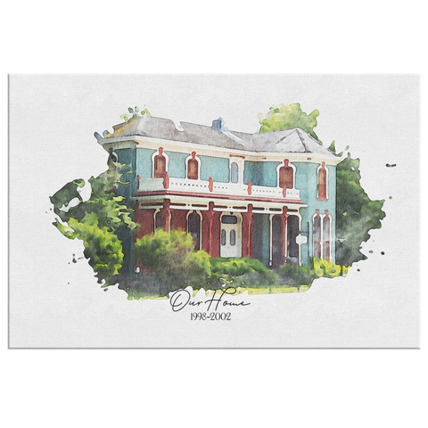 Custom Home Watercolor | House Art Canvas