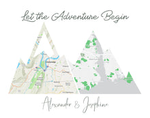 Load image into Gallery viewer, Custom Adventure Mountain Map Prints of your Special Places | Wedding Gift for Couple | Wanderlust Traveler Gift | 1st Anniversary Gift