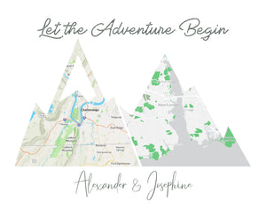 Custom Adventure Mountain Map Prints of your Special Places | Wedding Gift for Couple | Wanderlust Traveler Gift | 1st Anniversary Gift