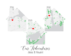 Map Home Print Special Places | Map of Homes Custom Areas | Choose 1-5 Homes/Maps