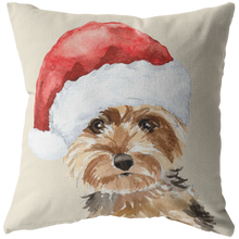 Load image into Gallery viewer, Yorkie Christmas Hat Pillow | Gift for Yorkshire Terrier Owners | Pet Memorial Gift