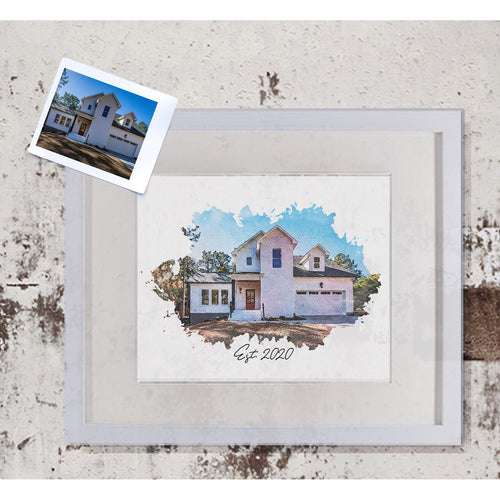 Custom Watercolor Home Portrait Print