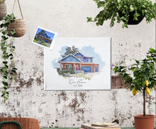 Load image into Gallery viewer, Custom Home Watercolor | House Art Canvas | Father's Day Personalize Gift