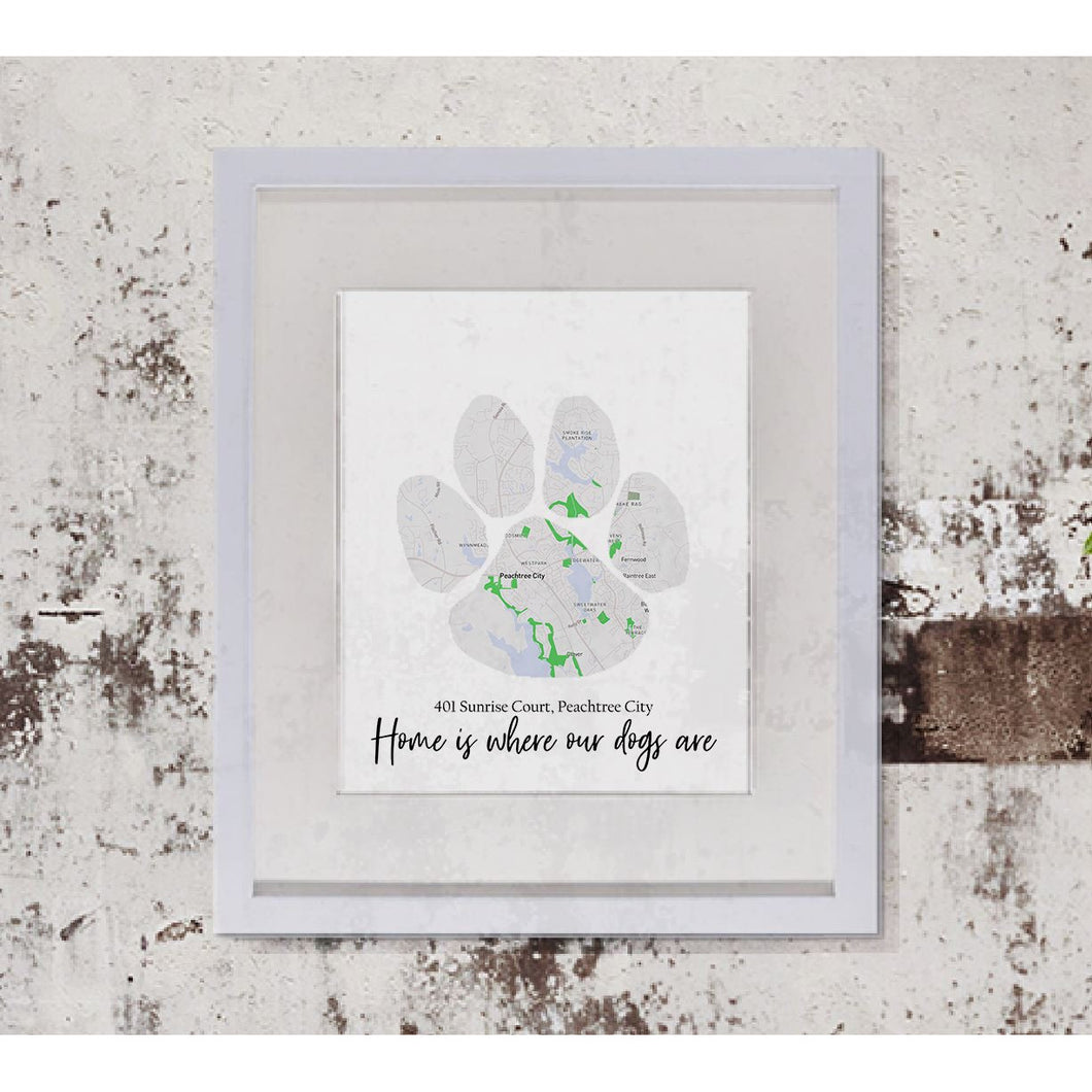 Dog Paw Print Map Art