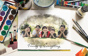 Custom Family Portrait Print | Watercolor Style Portrait of your Family | Father's Day Gift