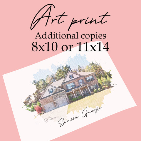 Copies of 8x10 or 11x14 Custom Printed Art - Additional copies ONLY