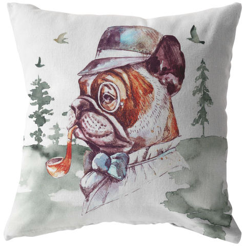 Frenchie Pillow | French Bulldog Throw Cushion | Vintage Art Decor