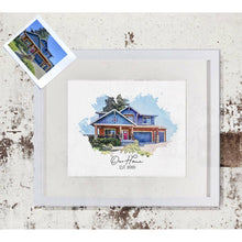 Load image into Gallery viewer, Custom House Portrait Print | Watercolor Style Portrait of your House | Realtor Closing Gift | Christmas Gift Idea