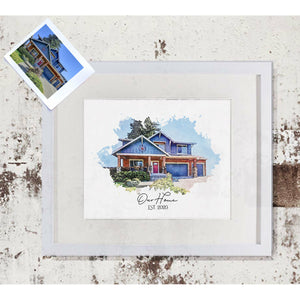 Custom House Portrait Print | Watercolor Style Portrait of your House | Realtor Closing Gift | Christmas Gift Idea