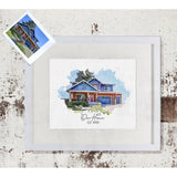Custom Home Print | Watercolor Style Portrait of your House | Realtor Closing Gift | Father's Day Gift Idea