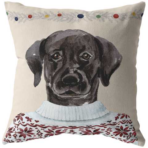 Black Lab Holiday Decor | Christmas Throw Pillow | Labrador Retriever Home Decor for the Holidays
