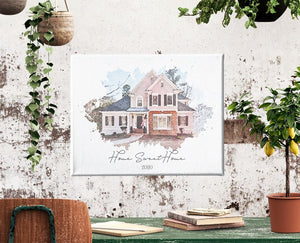 Custom Home Watercolor | House Art Canvas | Father's Day Personalize Gift