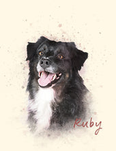 Load image into Gallery viewer, Pet Portrait Print | Watercolor Style Portrait of your Dog | Pet Memorial Gift