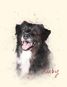 Pet Portrait Print | Watercolor Style Portrait of your Dog | Pet Memorial Gift