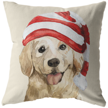 Load image into Gallery viewer, Golden Retriever Christmas Pillow | Xmas Decorative Throw Pillow | 3Pet Portrait Decor
