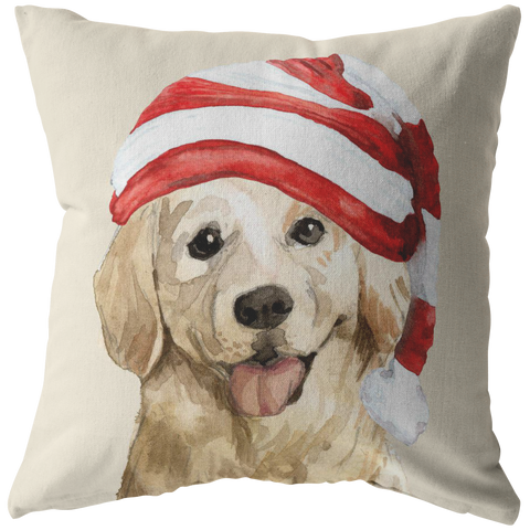 Golden Retriever Christmas Pillow | Xmas Decorative Throw Pillow | 3Pet Portrait Decor