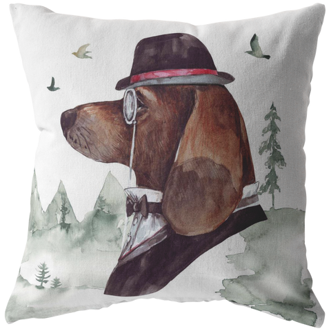 Basset Hound Throw Pillow | Vintage Look Home Decor | Pet Portrait Art & Decor