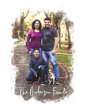 Load image into Gallery viewer, Family Portrait Watercolor Style Print on Canvas | Grandparent Gift | 1st Anniversary Present