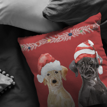 Load image into Gallery viewer, Black Yellow Lab Christmas Gift | Holiday Throw Pillow | Gift for Labrador Retriever Owners