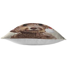 Load image into Gallery viewer, Cockapoo Christmas Pillow | Christmas Gift for Brown Cockapoo Owners | Custom Dog Pillow