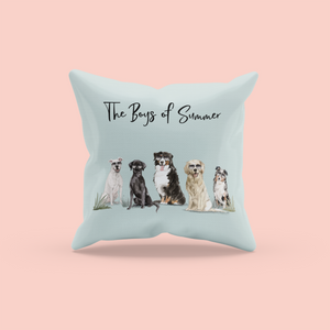 Summer Dog Pillow | Dogs with Sunglasses | Pet Throw Pillow | Gift for Pet Lovers | Pet Loss Gift