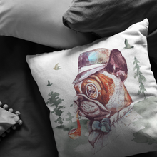 Load image into Gallery viewer, Frenchie Pillow | French Bulldog Throw Cushion | Vintage Art Decor