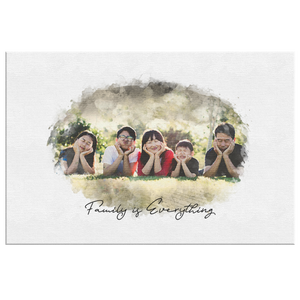 Family Portrait Watercolor Style Print on Canvas | Grandparent Gift | 1st Anniversary Present