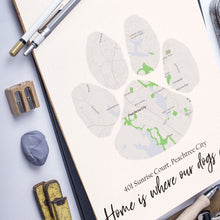 Load image into Gallery viewer, Custom Map of Home in Dog Paw Print | Map Home Area Print | Personalized Map Print