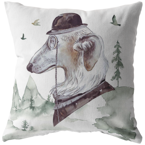 Russian Wolf Hound | Vintage Decor Pillow | Unique Pet Art