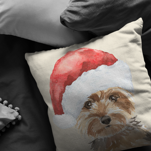 Yorkie Christmas Hat Pillow | Gift for Yorkshire Terrier Owners | Pet Memorial Gift