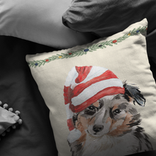 Load image into Gallery viewer, Australian Shepherd Pillow | Christmas Dog Throw Pillow | Aussie Shepherd Owner Gift for Christmas