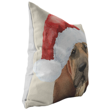 Load image into Gallery viewer, Blood Hound Christmas Pillow | Peekaboo Dog Pillow | Hound Dog Owner Gift