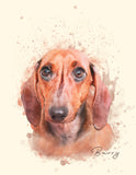 Pet Portrait Print | Watercolor Style Portrait of your Dog | Dog Dad Father's Day Gift idea