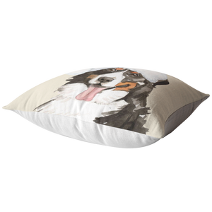 Bernese Mountain Dog Holiday Pillow | Christmas Throw Cushion | Berner Mom & Dad Gift