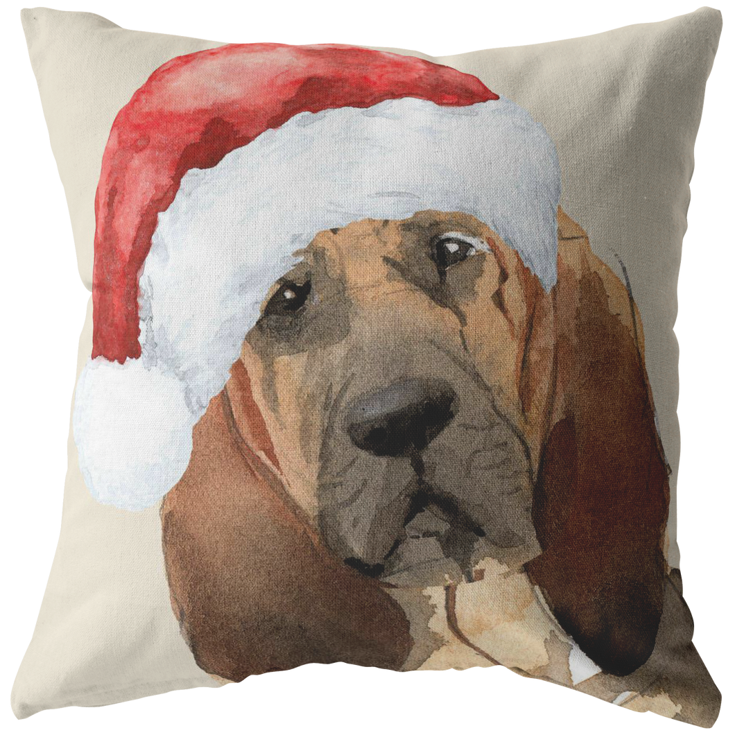 Blood Hound Christmas Pillow | Peekaboo Dog Pillow | Hound Dog Owner Gift