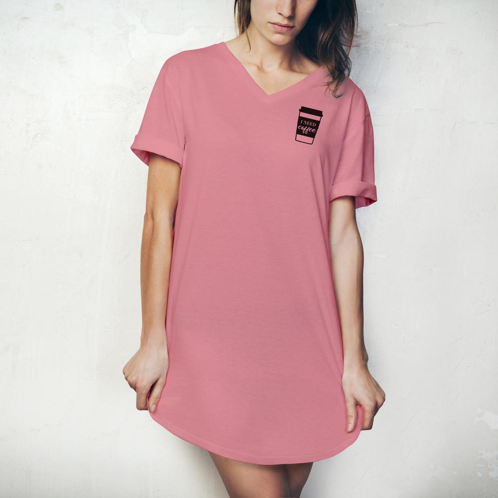 HELLO MELLO SLEEP SHIRT, PINK, I NEED COFFEE