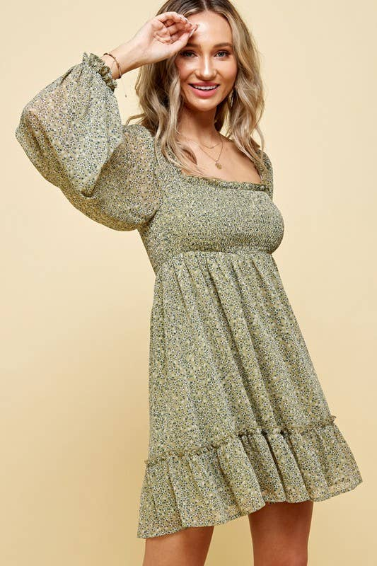 HUMBLE ATTITUDE FLORAL SAGE DRESS