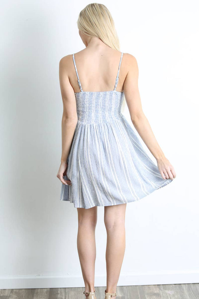 SMOCKED BODICE CIRCLE SKIRT SUNDRESS- BLUE