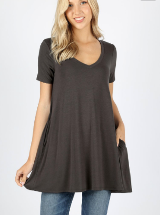 Grey V-Neck Short Sleeve Tunic