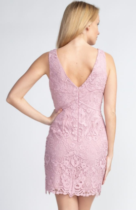 Mauve Lace V Neck Dress 9641