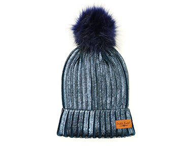 Metallic Knit Pom Hat