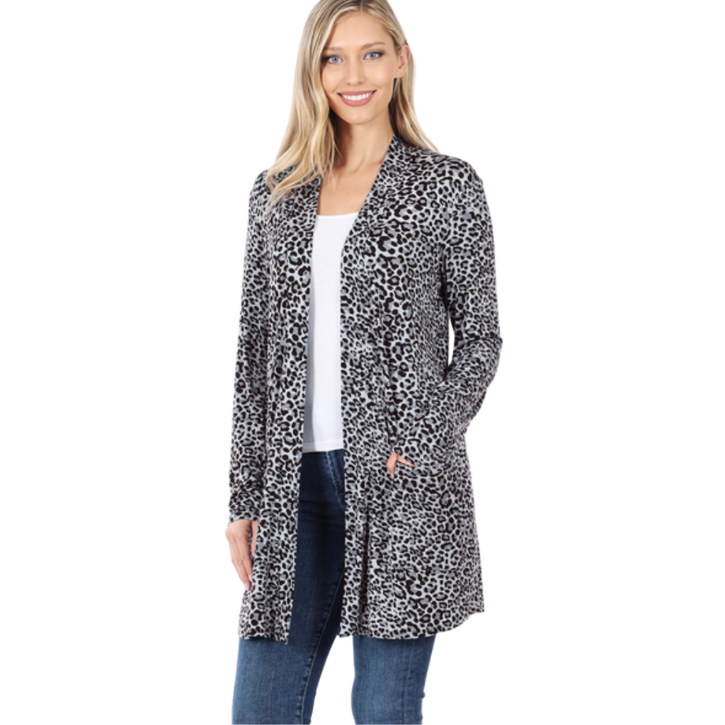 Leopard Cardigan- Grey